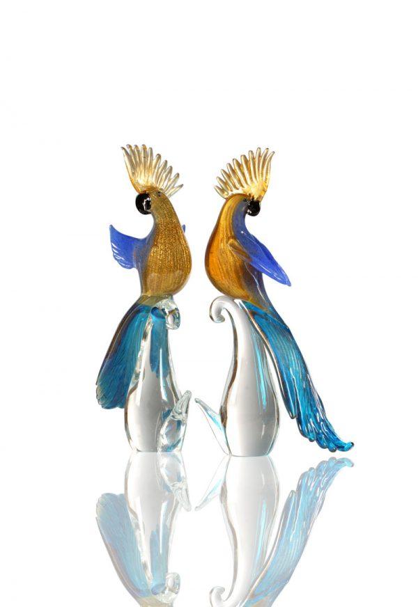 murano glass parrots