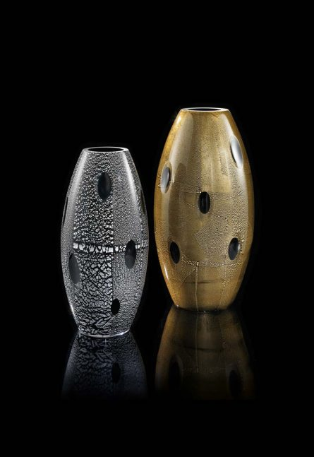 vases with gold foil
