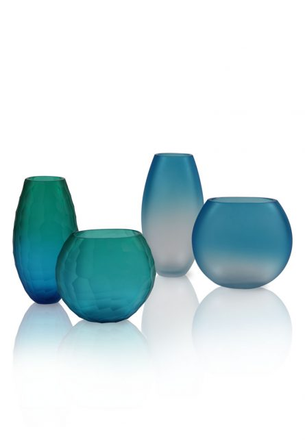satin glass vases and cut glass vases