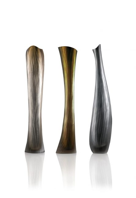 engraved murano glass vases
