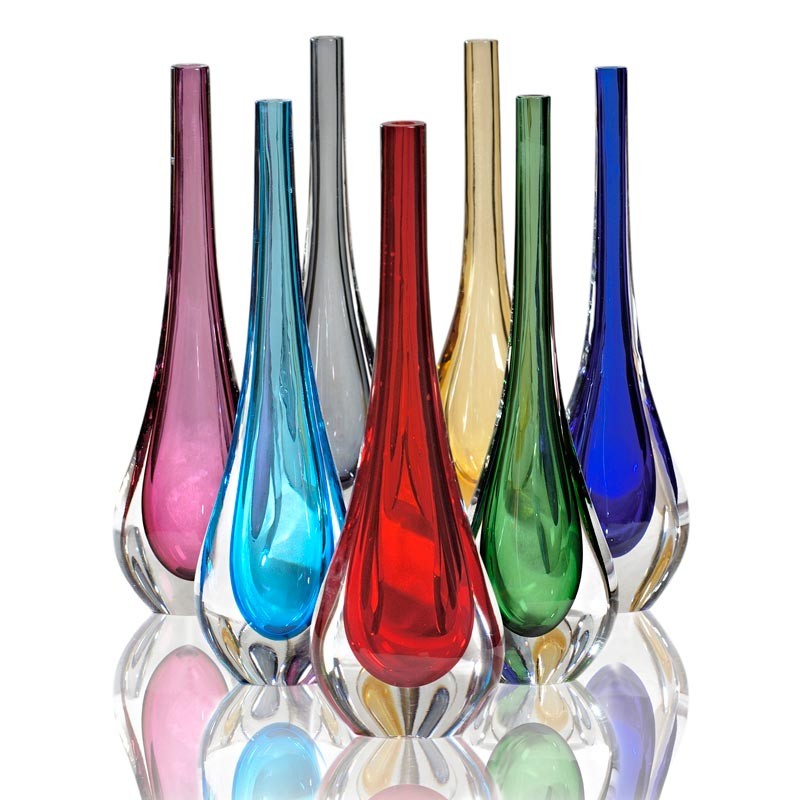 Stilla vasi in vetro colorati vetro di murano fornace mian for Vasi vetro design